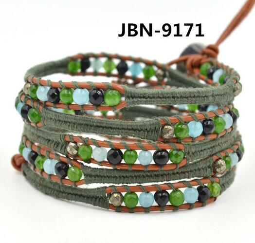 Wholesale colorful color blue stone 5 wrap leather bracelet