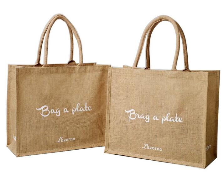 Wholesale cheap style custom logo flax or linen shopping bag for student
