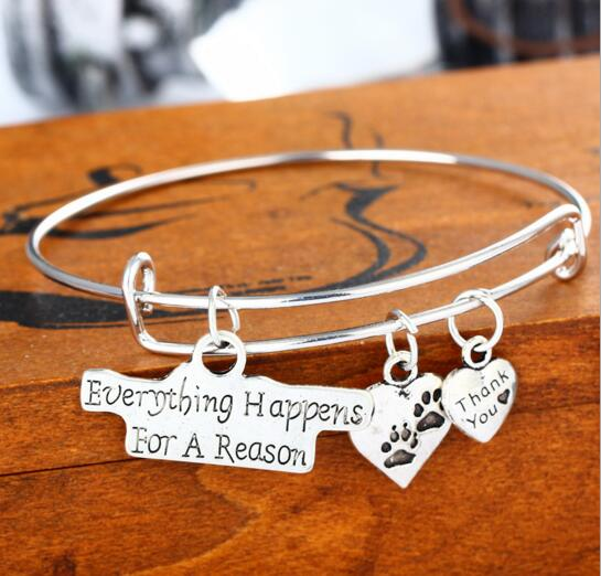 Everything happen for a reason and heart shape zinc alloy bracelet
