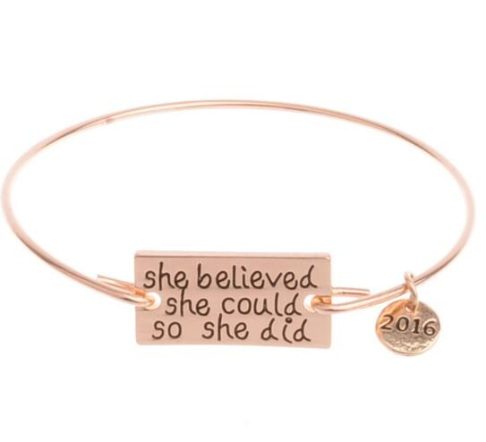 Shebelieved she could so she did word gold color zinc alloy bracelet