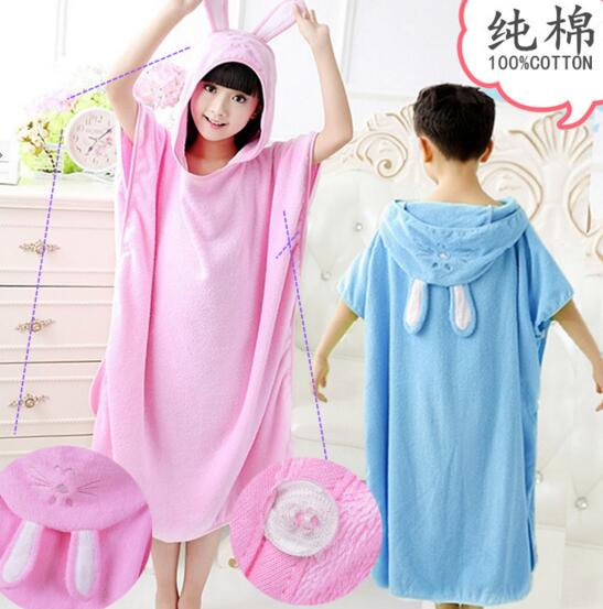 Good quality baith rabbit ears cotton children bathrobe for swimming or home