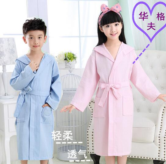 Good quality blue and pink color waffle bathrobe for children