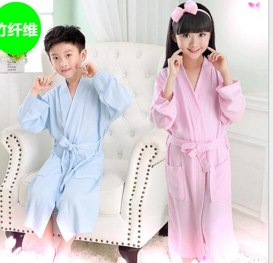 Good quality blue and pink color waffle cotton bathrobe for children