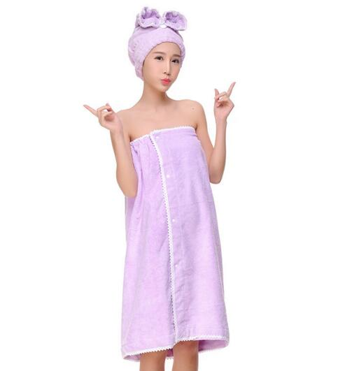 Good quality absorbant microfiber Bathrobe Skirt with hood for woman