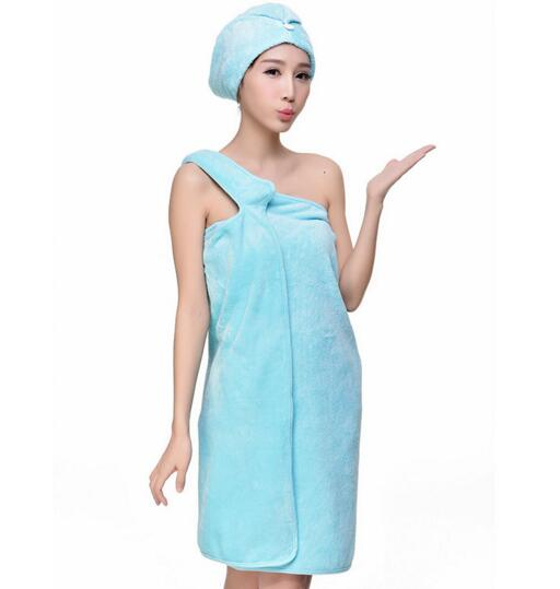 Good quality blue color fleece bathrobe skirt with hood for woman