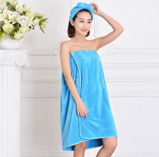 Good quality blue color coral fleece bathrobe skrit with hood for woman