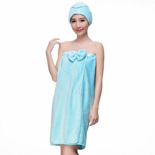 Good quality blue color coral fleece woman bathrobe skirt with hood for beach or swimming