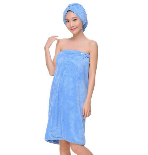 Good quality blue color luxury fleece bathrobe for woman with hood