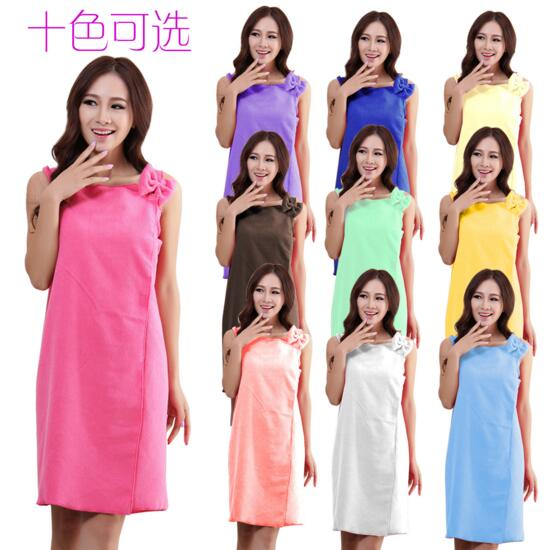 Ten colors microfiber bathrobe dressing robe with bowknot on the shoulder for woman