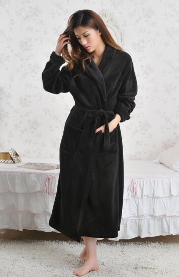 Good quality black color coral fleece bathrobe dressing gown for woman