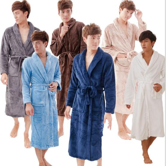 Good quality blue and green and white and pink color coral fleece luxury bathrobe for man