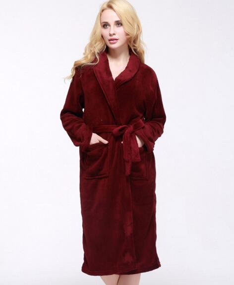Good quality burgandy color coral fleece luxury bathrobe for woman