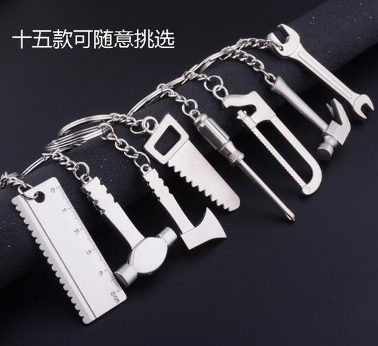 Hammer and axe and ruler tool zinc alloy keychain