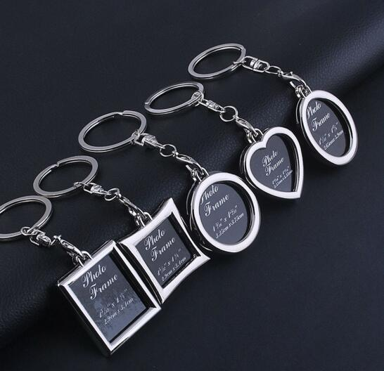 Square and heart and rectangle shape photo keychain