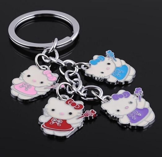 Promotional cheap style Cute cat shape metal keychain
