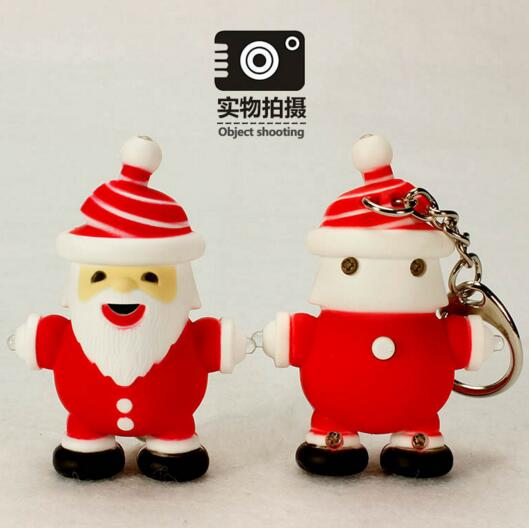Promotional santa claus shape with sound keychain
