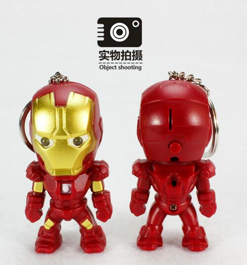 Promotional iron man shape with sound and led function keychain