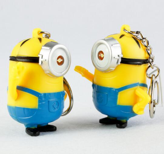 Promotional cheap Minions shape with sound and led keychain