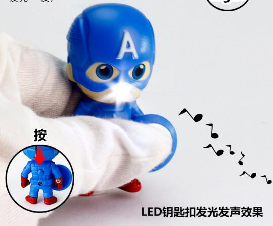 Promotional  The Avengers shape with sound and led light animal keychain for car
