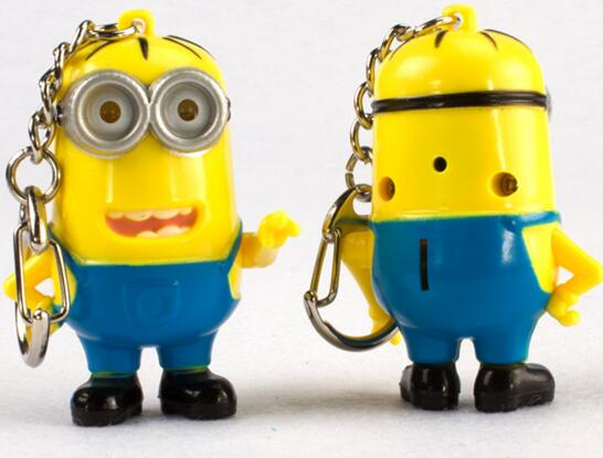 Promotional Minions shape with sound and led keychain