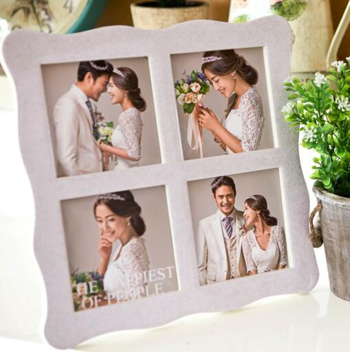 Beauty style crystal baked porcelain 4pcs wedding photo frame for desk
