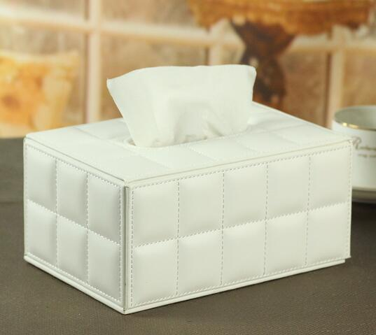 High quality white color pu leather tissue box cover