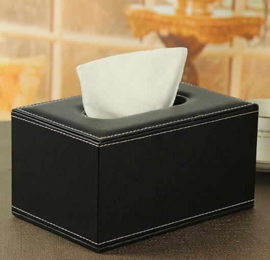 High quality emboss logo black color pu leather tissue holder or tissue box
