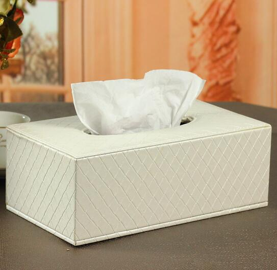 High quality white color pu leather car kleenex box cover