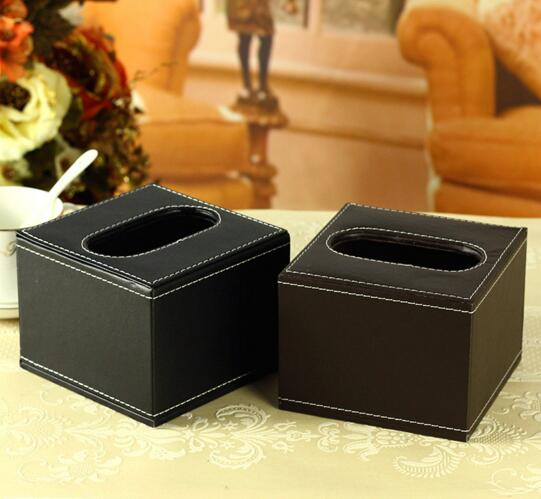 High quality square shape pu leather car tissue box cover