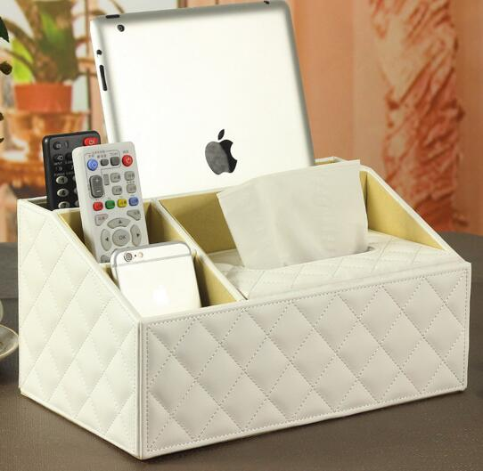 High quality white color tv controller and tissue box desktop organizer
