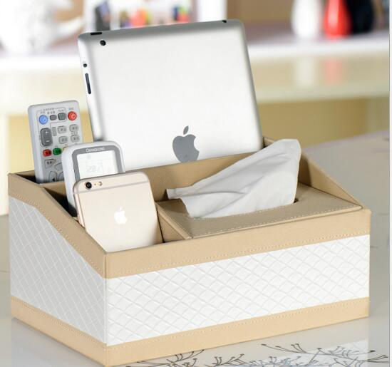 High quality white color pu leather tv controller and tissue box