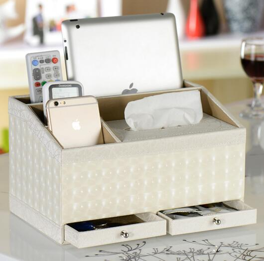 High quality white color pu leather tissue box and tv controller desktop organizer