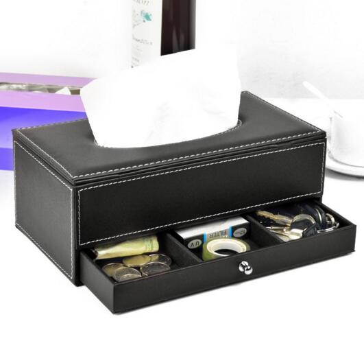 High quality pu leather tissue box and coin desktop organizer