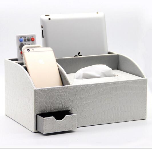 High quality grey color pu leather tv controller and mobile and tissue box desktop organizer