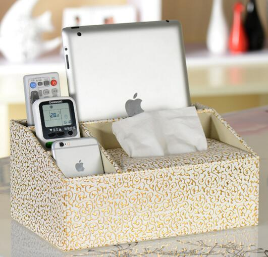 High quality gold color pu leather tissue box and tv controller desktop organizer