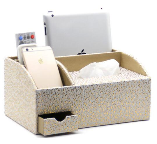 High quality gold color pu leather mobile and tv controller and ipad and jewerly desktop organizer and tissue box