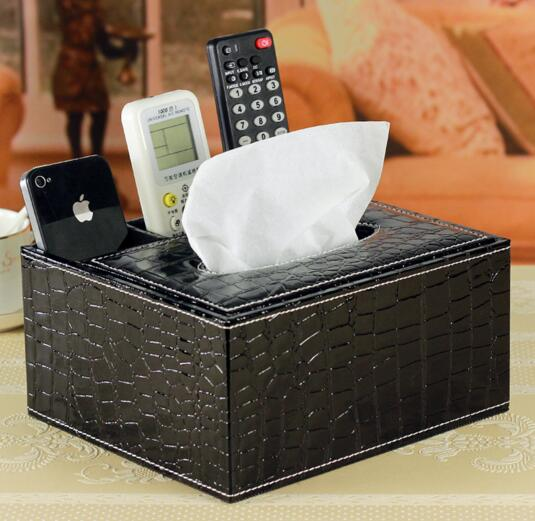 High quality black color pu tv controller organizer and tissue box