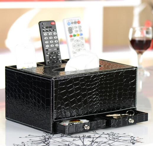 High quality black color pu tv controller and tissue and jewelry multifunction desktop organizer