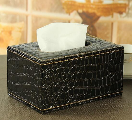 High quality black color pu leather car tissue box cover