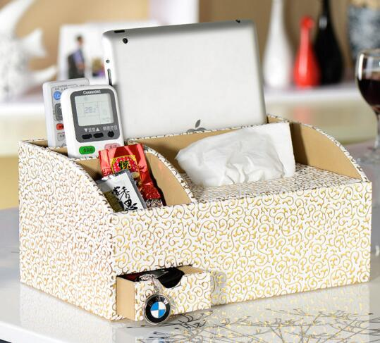 High qualitty white color tv controller storage box and tissue box
