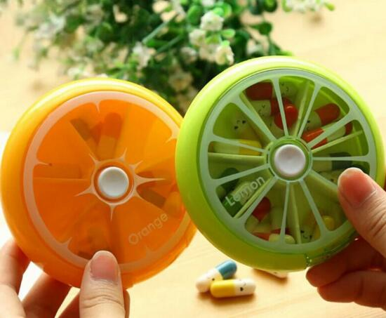 Promotional round shape weekly 7 days swivel pill box