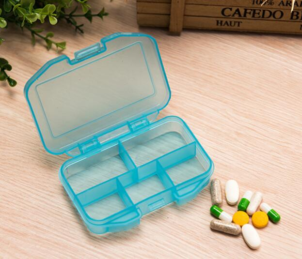 Promotional blue or yellow color 5 compartments 5 days pill box