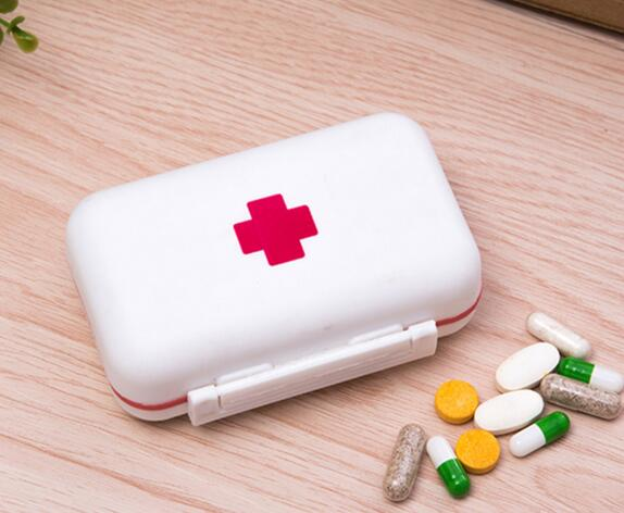 Promotional high quality double level 6 compartment pill box