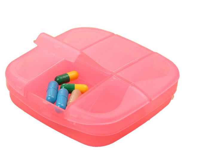 Promotional square shape 6 compartment pill box or pill organizer