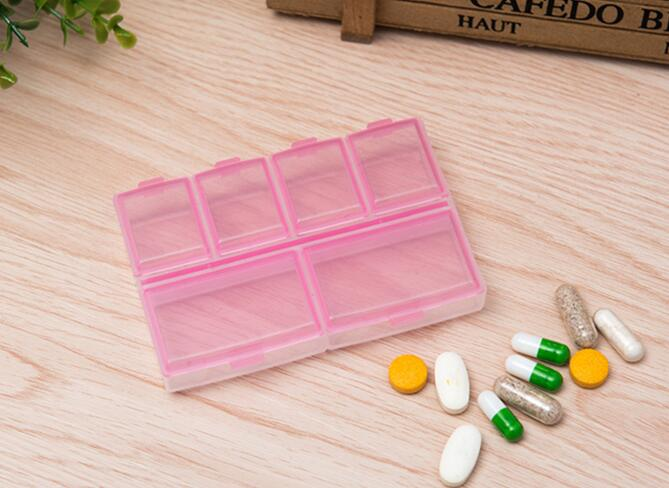 Promotional pink color transparent weekly pill box