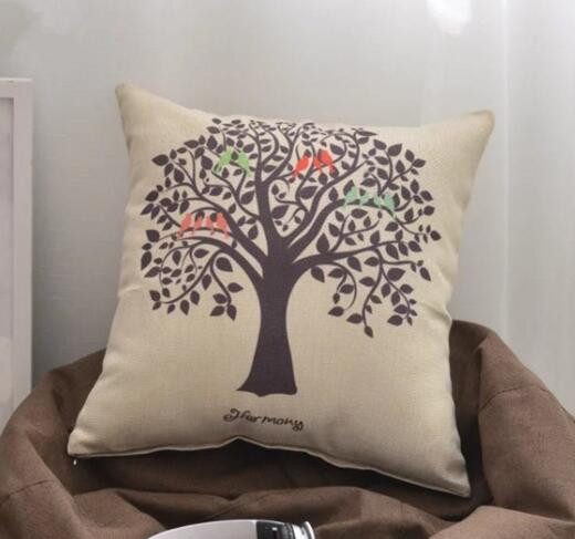 Customize digital printing logo tree shape flax cushion pillow cover
