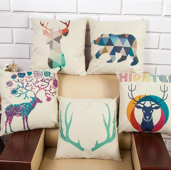Custom logo giraffe shape square shape flax cushion cover