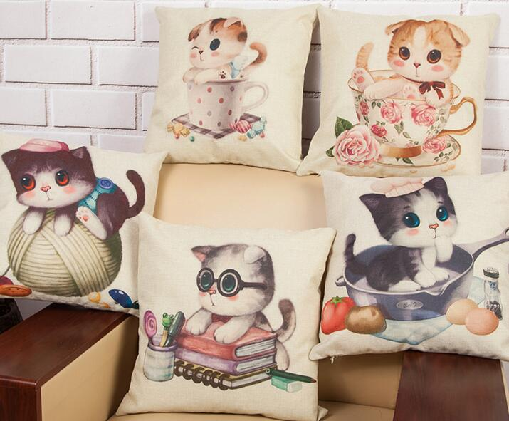 Custom printing logo animal cat shape flax material pillow cover