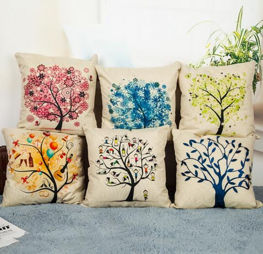 Promotional digital printing tree shape flax square pillow cover