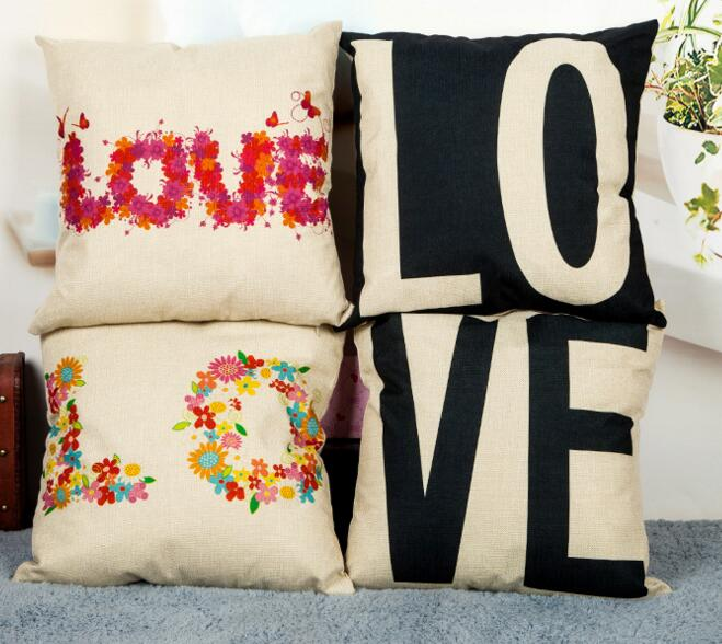 Hot sale custom logo printing love shape flax throw pillow cover